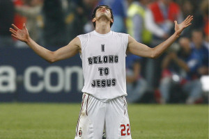 AC Milan's Kaka falls to his knees after winning the Champions League final soccer match against Liverpool in Athens